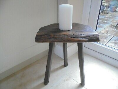 Vintage French rustic 3 legged stool, beaten effect, chunky & solid