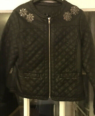 Girl's Matalan Black Leather Jacket age 12 - 13 YEARS PARTY