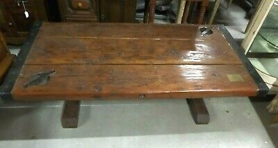 Vintage Pine Wood Hatch Top Cover Modified into Coffee Table.