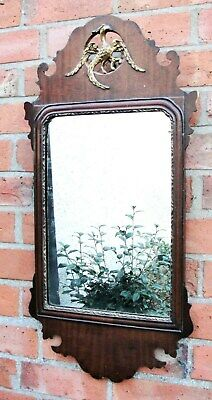 1880s VICTORIAN WALL MIRROR in MAHOGANY with  GOLD EAGLE at TOP in vgc
