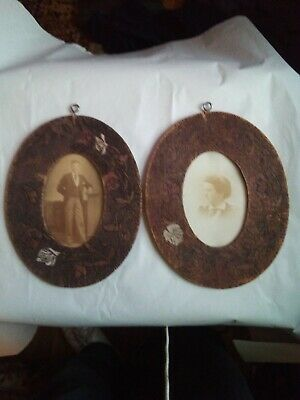 2 Matching Antique Arts Crafts Nouveau Pyrography Frames Hand Made Photograph