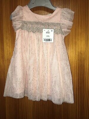 Next Baby Girls Dress Age 3-6 Months New Tags Short Sleeved Glitter Pink