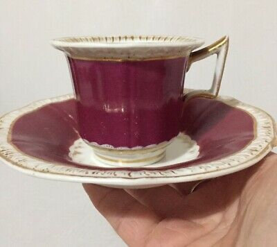 Antique Tea Cup and Saucer Red and Gold Gilt Batwing Handle Beautiful Rare GC