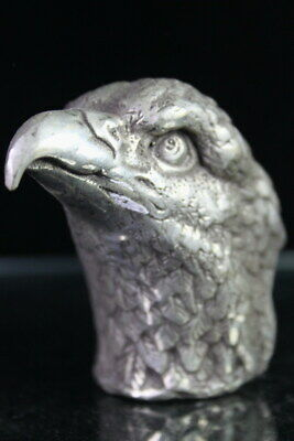 Collectable Handwork Decor Miao Silver Carved Eagle Bright Eyes Exquisite Statue