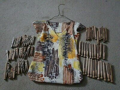Vintage Wooden Clothes Pegs And Vintage Peg Bag