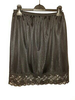 BHS Black Lace Trim Knee-length Half Slip - size 12