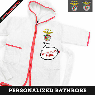 Sl Benfica Personalized 100% Cotton Children's Bathrobe - Name And Monogram