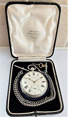 1882 Silver Cased J W Benson Chain Driven Fusee Pocket Watch In Working Order