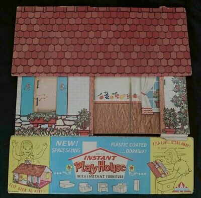 """60s Vintage Winthrop Instant Play House Folding Fold Out for 4"""" Miniature Dolls"""