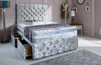 """IBEX PLUS EXTRA , CRUSHED VELVET DIVAN BED, 4'6 Double, 5"""" king, MADE IN UK"""