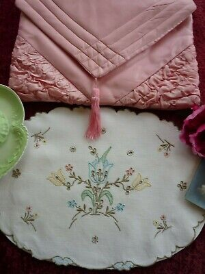 TWO Vintage Nightdress/Lingerie Cases.Taffeta & Madeira Linen GC.
