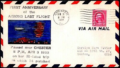 USS Akron Zep Memorial Crash Cover Chester PA Apr 3 1934 Omar Watts Hand Painted