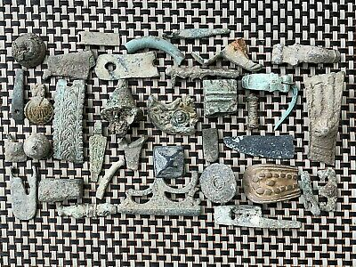 Lot Of 35 Ancient Roman And Byzantine Medieval Bronze Artifacts And Fragments