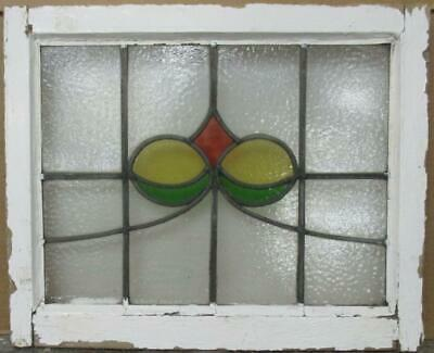 "OLD ENGLISH LEADED STAINED GLASS WINDOW Pretty Sweep Design 21.25"" x 17.5"""