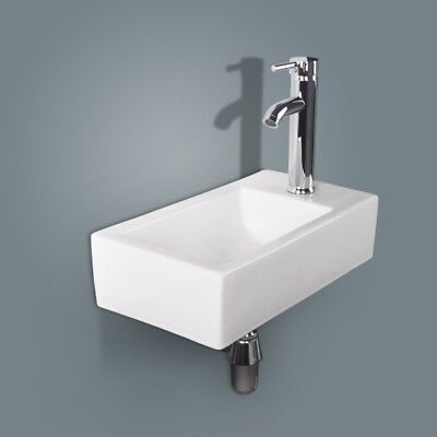 Bathroom Wall Mounted Corner Sink White Ceramic Vessel Sink Faucet Drain Combo