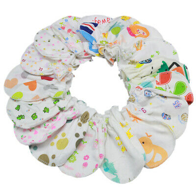 2 Pairs Baby Cotton Anti-Scratch Gloves Breathable Cute Newborn Elastic Mittens
