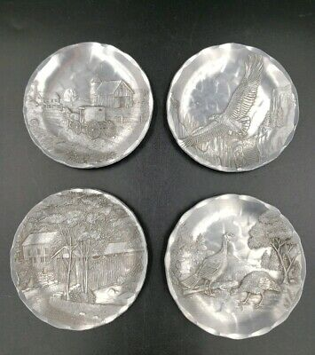 """Lot Of 4 Handmade Hammered Aluminum 4"""" Plates By Wendell August Forge   49"""