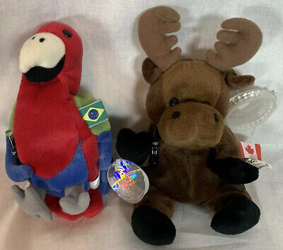 Coca Cola Beanie Plush Canada Moose Brazil Parrot Coke Bottle 1999