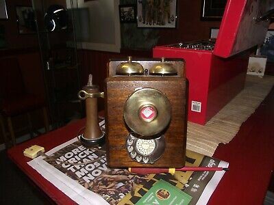 Antique Repo Collectable Wooden Wall Phone Telephone