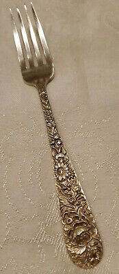 "Sterling Silver S Kirk & Son Repousse Fork 7 1/4"" 52.25g"