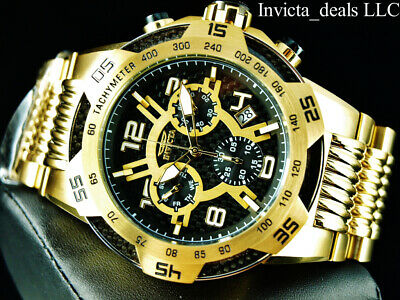 Invicta Mens 50mm SPEEDWAY SWISS Chronograph Black Dial 18K Gold Plated SS Watch