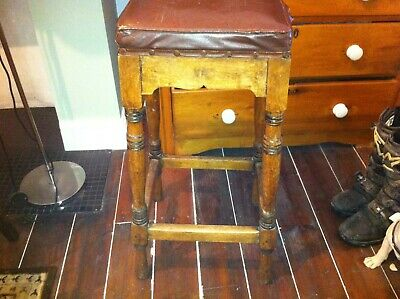 Vintage Retro Wooden square Leather Top Pub Bar Stool