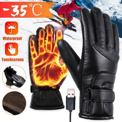 USB Plug Electric Winter Warmer Waterproof Heated Gloves With Touchscreen Finger