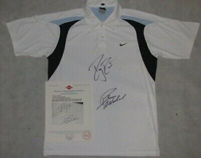 ROGER FEDERER & RAFAEL NADAL  Hand Signed Tennis Shirt  'Buy Genuine'
