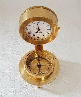 Clock/Compass Decorative Maritime Working Replica Solid Brass with Wooden Box