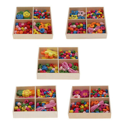Perles en bois de couleur mélangée Spacer Charms Kids Bracelets Crafts
