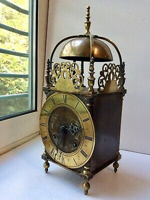 Large solid brass  Lantern clock with chimes and engraved face
