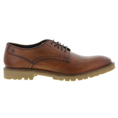 Base London Bunker Mens Brown Tan Leather Lace Up Formal Shoes Size UK 6-12
