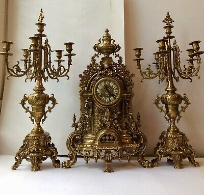 Beautiful Antique 19th c French Gilt Pierced  Mantle Clock Garniture Set