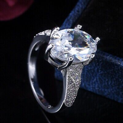 Gorgeous Women 925 Silver Wedding Rings Oval Cut White Sapphire Ring Size 6-10