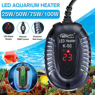 25/50/75/100W Aquarium Fish Tank LED Digital Water Heater Submersible Thermostat