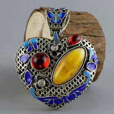 Collect Old Miao Silver Cloisonne Inlay Amber Hand-Carved Delicate Decor Pendant