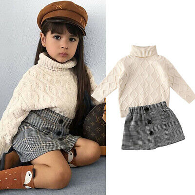 Toddler Baby Girls 2PCS Winter Clothes Knitted Sweater Tops+Skirt Outfits Set UK