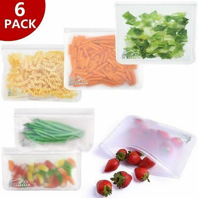 6pcs Reusable Food Storage Bags Silicone Leakproof Fresh Ziplock Produce Bags