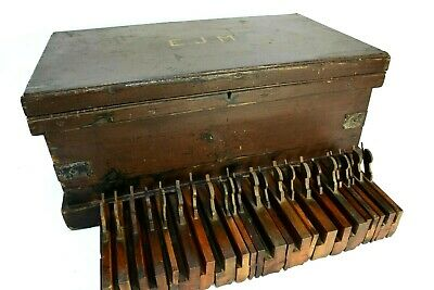 Antique carpenter's chest with contents, steel bound original paint great patina