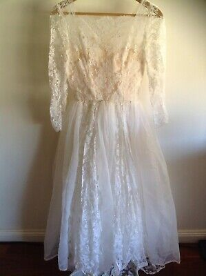 Vintage 1950's  Handmade Lace Wedding Dress Lace Gloves And Headpiece Small Size