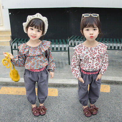 Kids Girls outfit Tops+pants Toddlers Girls outfit Printed Pullover Girls