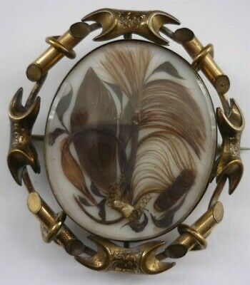 Antique Victorian Extra Large Hairwork  Swivel Mourning Brooch