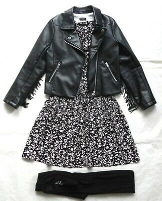 Ikks Girls Dress, tights, Leather fringe Biker Jacket Set Outfit Age 7-8y