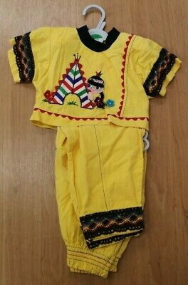 Vintage Pretty Originals Yellow Indian Outfit Age 4 Years (D1)