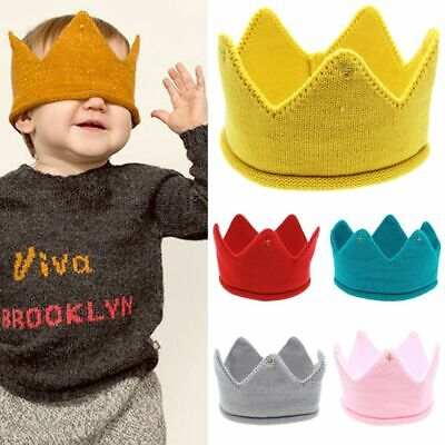 Boys Girls Crown Knit Headband Hat Baby Kids Headwear Photography Props