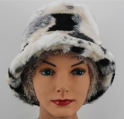 CHEMO HAT Black White Faux Fur Cancer Head Cover CREAM HIGHLIGHTS Bucket
