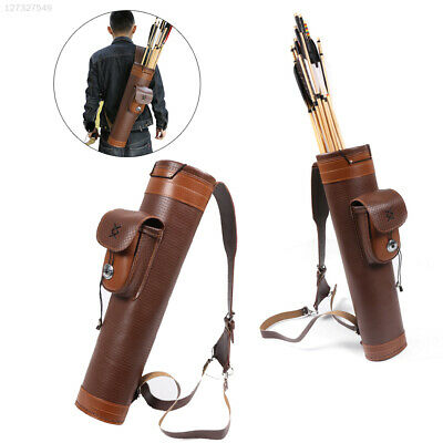 8EBD Cow Leather Arrows Bag Shooting Hunting Bow Brown Archery Belt Bag
