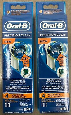 New 8x BRAUN ORAL B PRECISION CLEAN TOOTHBRUSH REPLACEMENT BRUSH HEADS REFILL