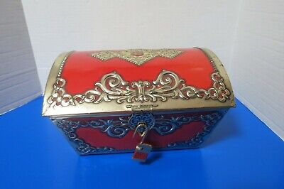 "Tin Decorative Trinket Treasure Box W/Hinged Lid And Decor Lock 10""L 6.5"" Tall"