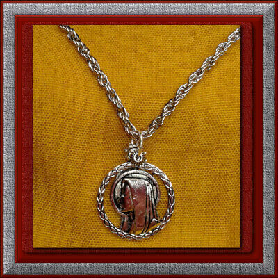 "🕊 Catholic 1"" Medal 🕊 Silver Plated Necklace 28"" Chain 🕊 Blessed Mother Mary"